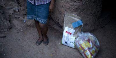 Andrea García se para a un lado de una donación de Oxfam de semillas de maíz resistentes a la sequía y decenas de bolsas de harina de maíz en San Juan Ermita. Foto:AP/ Archivo