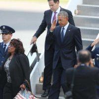 El presidente de EU aterrizó poco después del mediodía en el aeropuerto de Orlando Foto:AP
