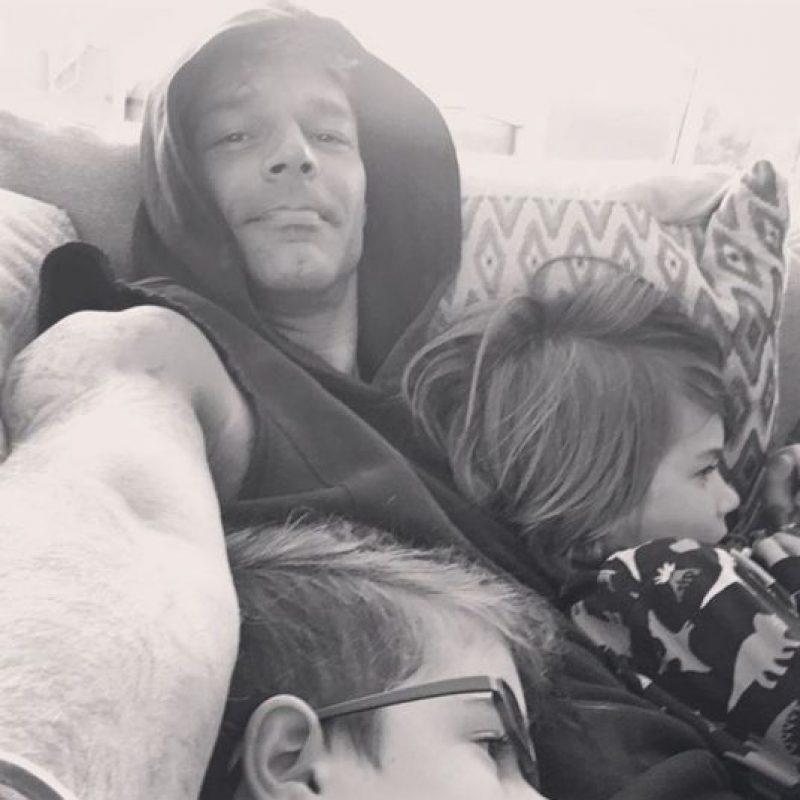 Ricky Martin con sus pequeños de siete años Foto:Instagram @rickymartin
