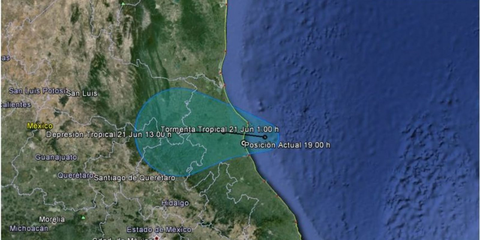 La tormenta seguirá avanzando por territorio nacional. Foto:Servicio Meteorológico Nacional