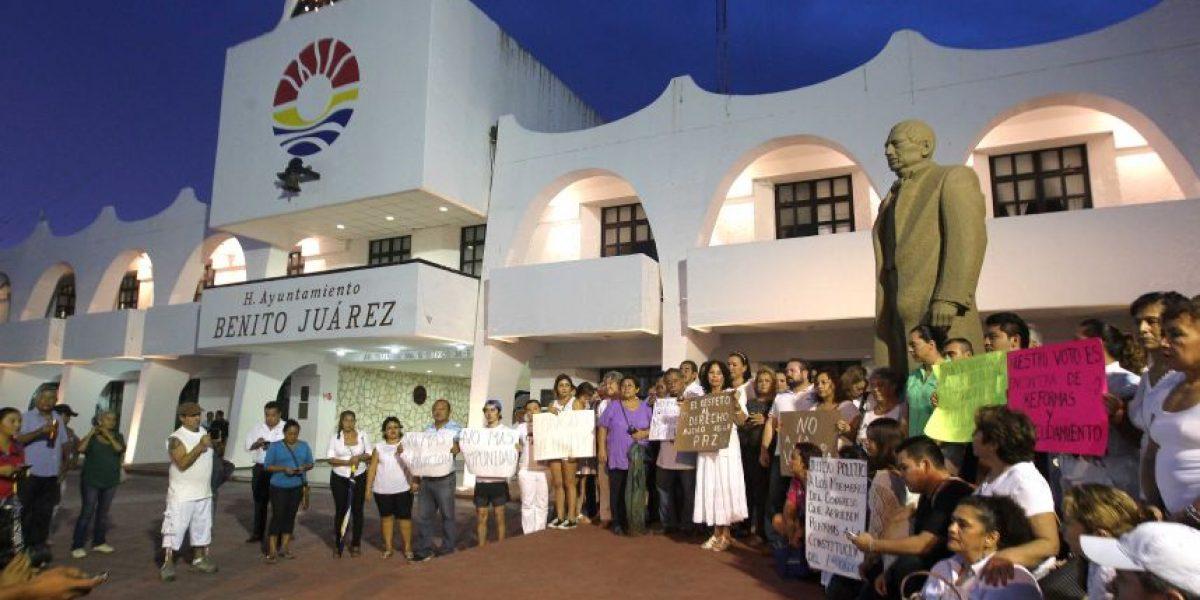 Manifestación pacífica en Cancún