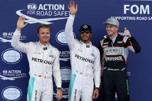 Lewis, Rosberg y Hülkenberg lideraron la clasificación. Foto:AP
