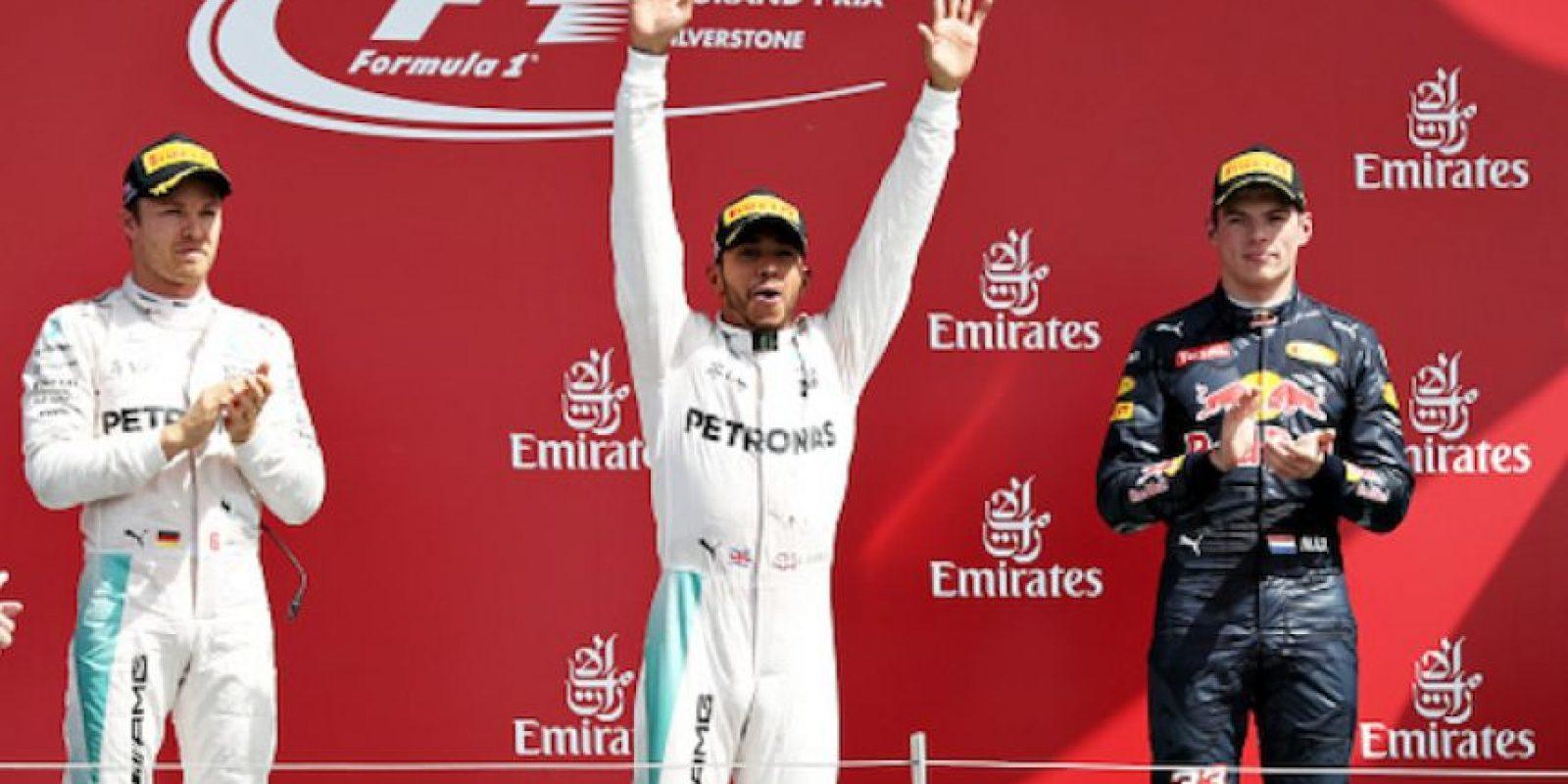 Hamilton, Rosberg y Verstappen, el podio de este domingo. Foto:Getty Images