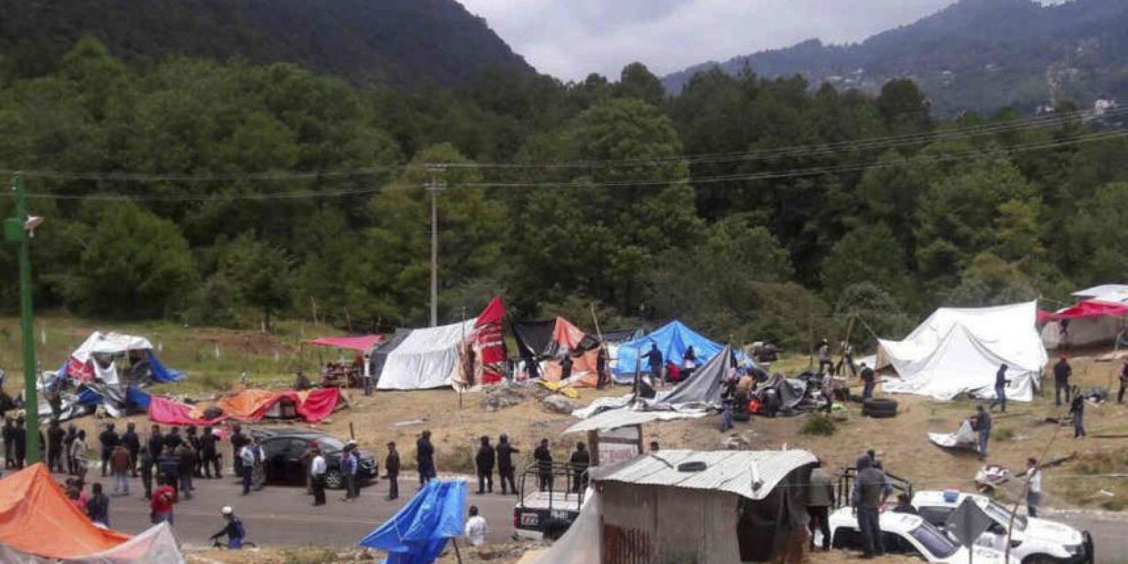 El campamento estaba ubicado sobre la carretera San Cristóbal de las Casas-Tuxtla Gutiérrez Foto:Cuartoscuro