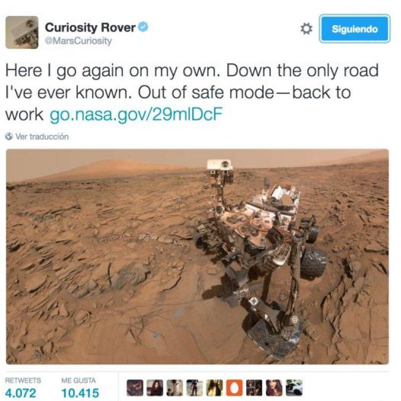 """5. Un """"selfie"""" del Curiosity, que vuelve a trabajar en Marte Foto:Twitter.com/NASA"""