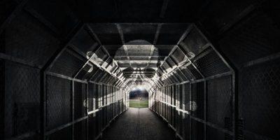El túnel tiene una calavera pintada en el techo que juega con el efecto luz y parece viva Foto:Facebook St Pauli