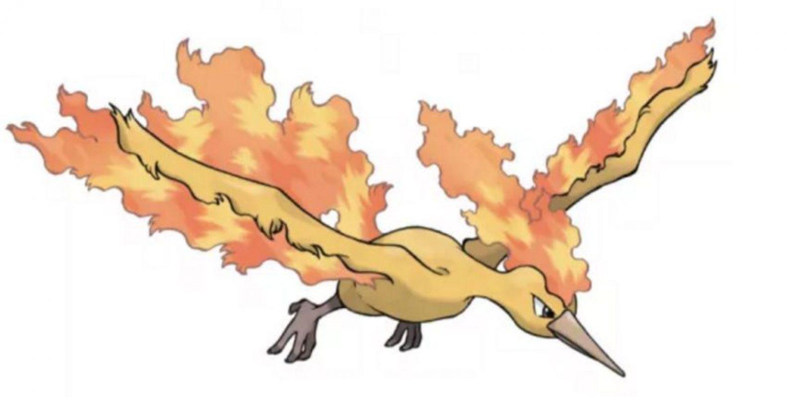 3.- Moltres, emblema del equipo rojo y ave legendaria. Foto:Pokémon