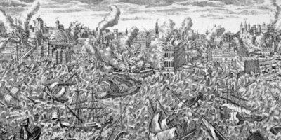 Pero la gente se olvida que los desastres naturales han ocurrido siempre. Esto fue en el terremoto y tsunami de Lisboa en 1755. Foto:vía Wikipedia