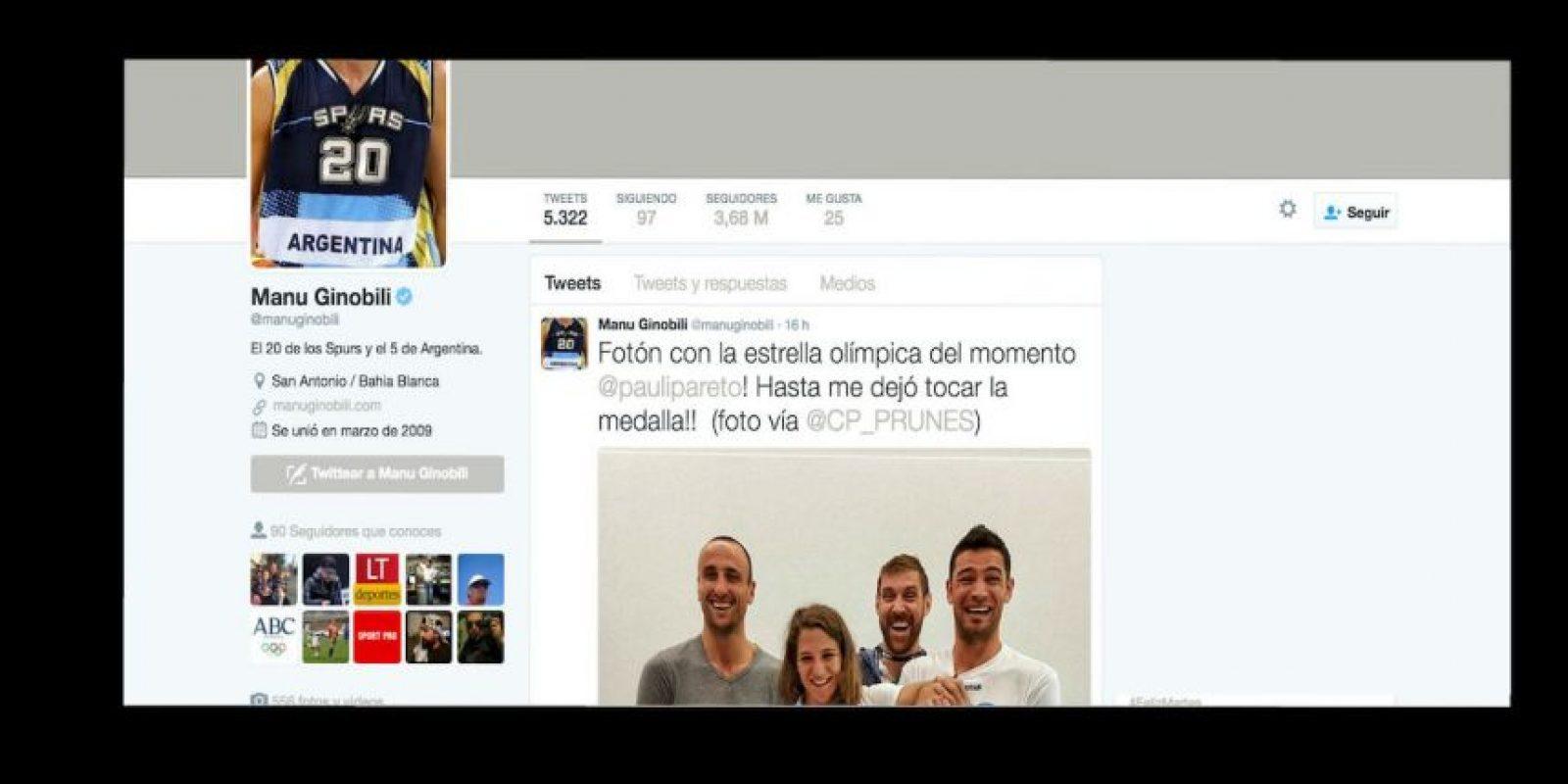 Manu Ginóbili (@manuginobili) – 3.68 millones de seguidros Foto:Twitter