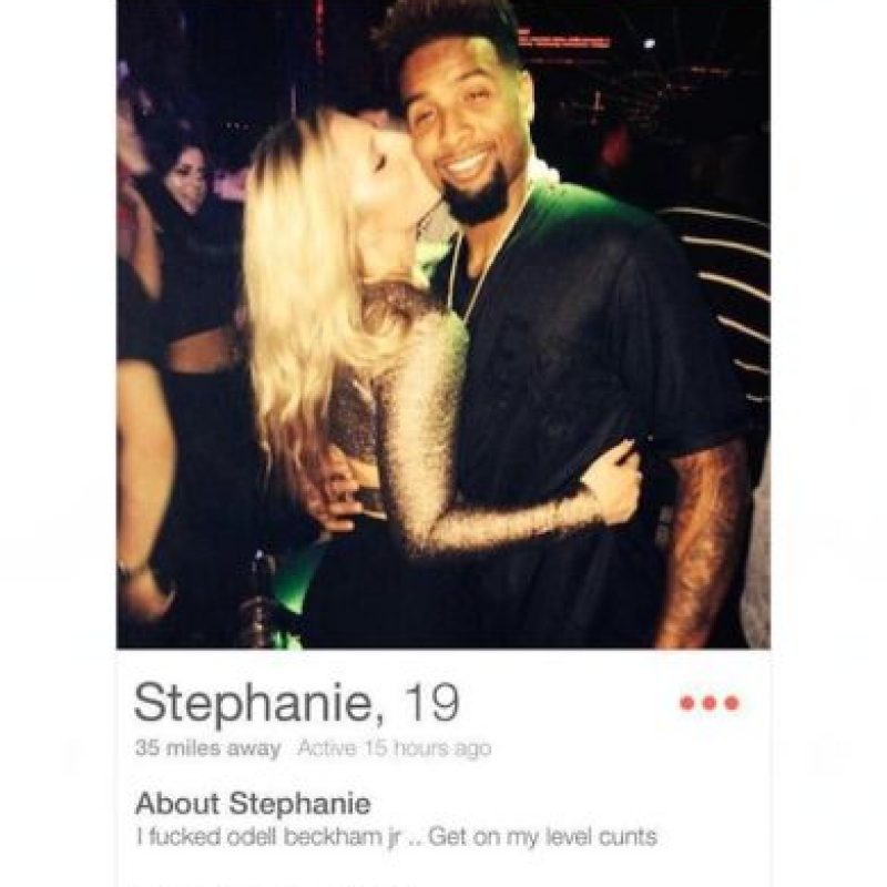 """En Tinder, una chica de nombre """"Stephanie"""" presumió que había pasado la noche con Odell Beckham Jr., jugador de la NFL Foto:Tinder"""