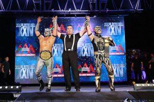 Aerostar y Drago se coronaron Campeones en Parejas AAA al vencer a Jack Evans y Angélico, Foto:AAA