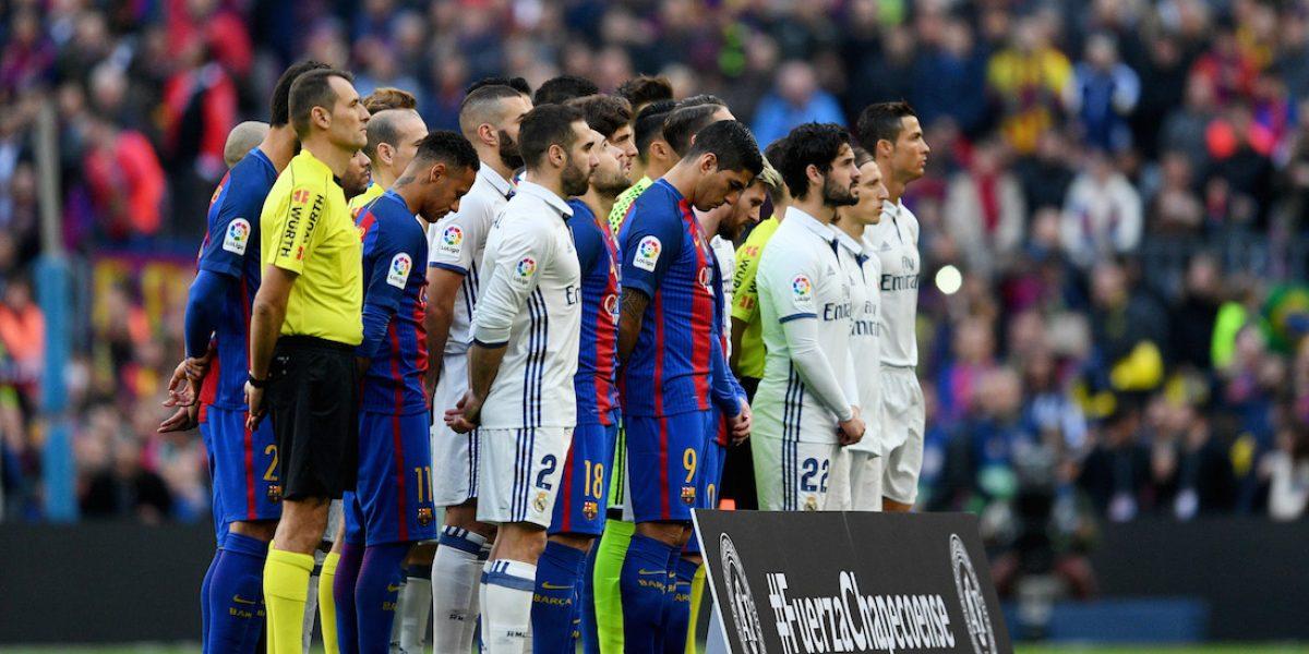 Así fue el homenaje de Barcelona y Real Madrid al Club Chapecoense