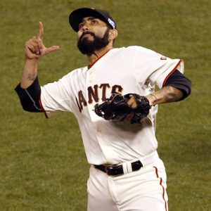 Oct 7, 2014; San Francisco, CA, USA; San Francisco Giants relief pitcher Sergio Romo reacts after retiring the Washington Nationals during the eighth inning of game four of the 2014 NLDS baseball playoff game at AT&T Park. Mandatory Credit: Kelley L Cox-USA TODAY Sports