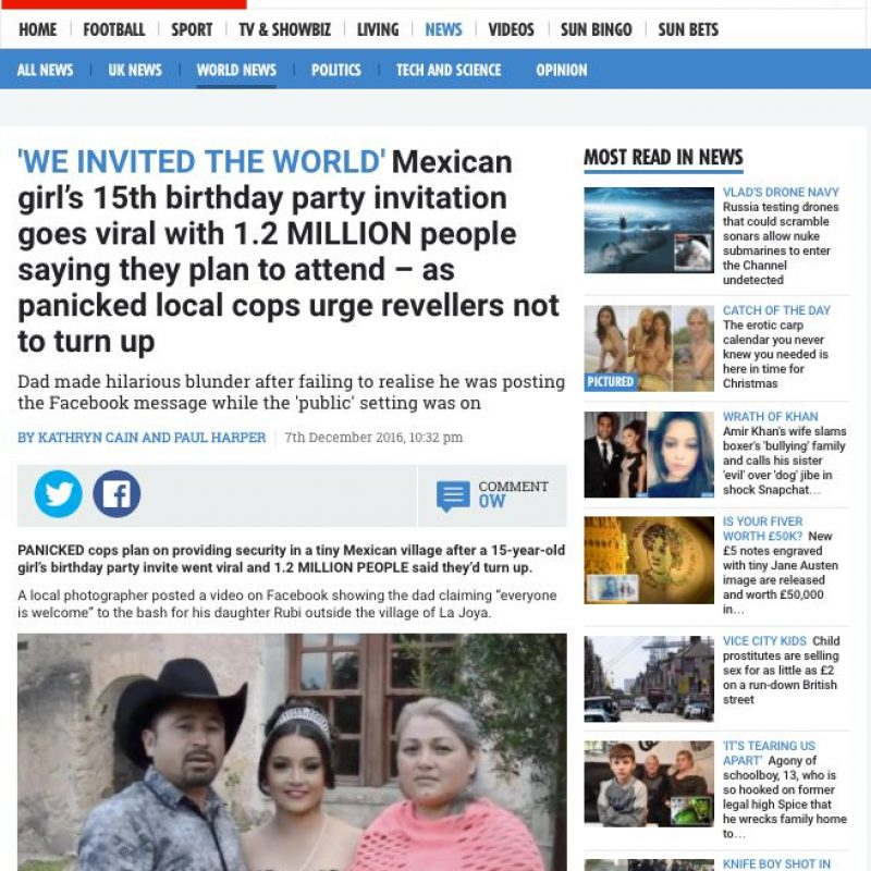 Los XV años de Rubí en medios internacionales. Imagen Por: The Sun - Reino Unido | Foto: Captura de pantalla