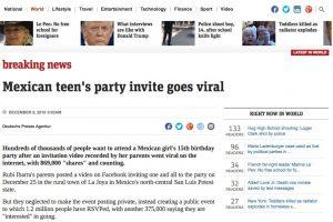 Los XV años de Rubí en medios internacionales. Imagen Por: News - Australia | Foto: Captura de pantalla