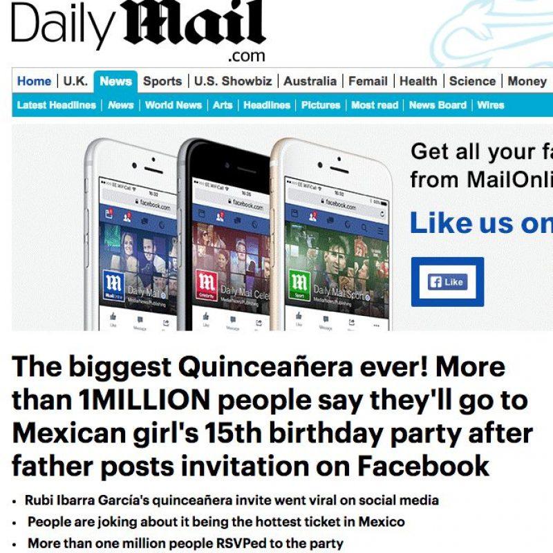 Los XV años de Rubí en medios internacionales. Imagen Por: Daily Mail - Reino Unido | Foto: Captura de pantalla