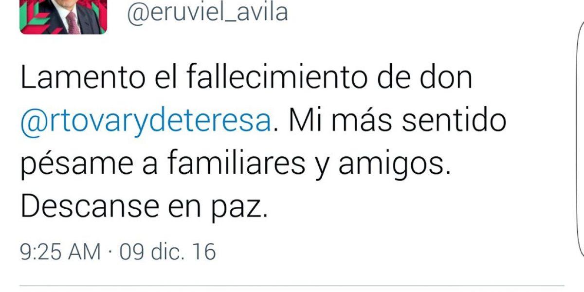 Eruviel Ávila se disculpa por tuit sobre Rafael Tovar y de Teresa