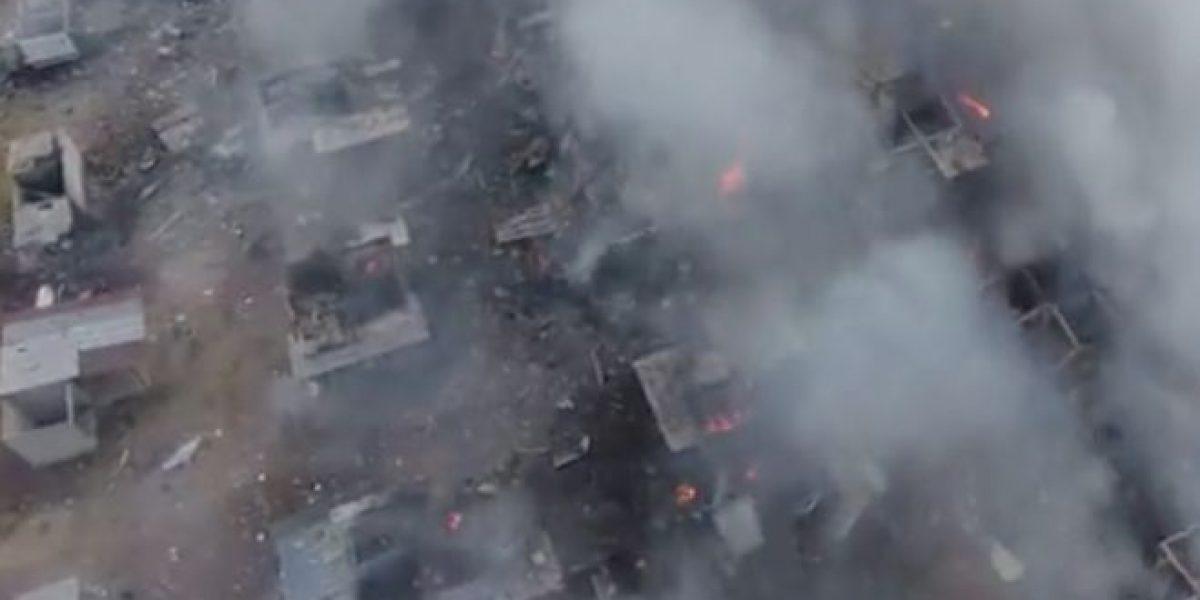 VIDEO: Drone sobrevuela mercado de cohetes de Tultepec tras explosión