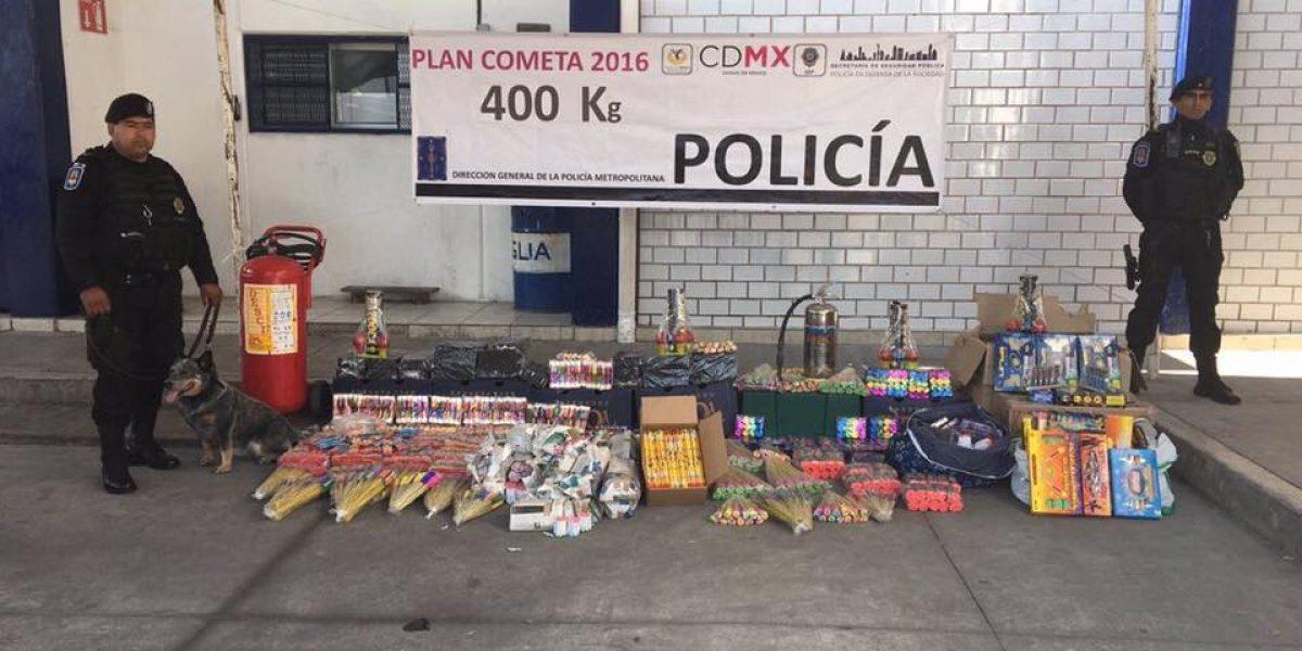 Autoridades decomisan 400kg de pirotecnia que se dirigía a La Merced