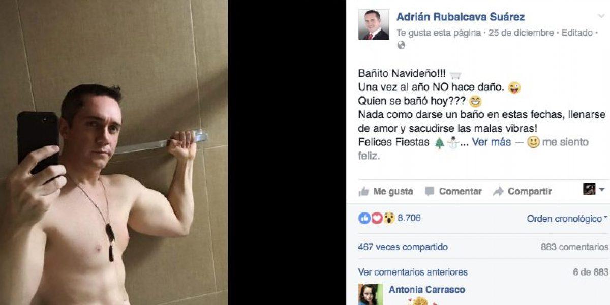 Diputado del PRI edita post navideño donde aparece semidesnudo y se queja por críticas