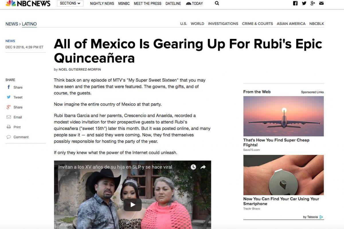 Medios Internacionales destacan la fiesta de XV años de Rubí. Imagen Por: NBC News - Estados Unidos