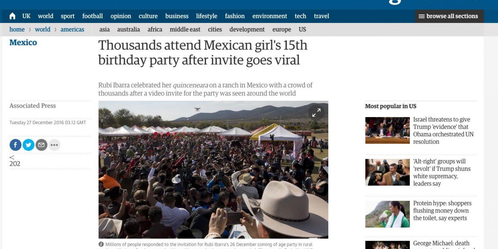 Medios Internacionales destacan la fiesta de XV años de Rubí. Imagen Por: The Guardian - Reino Unido