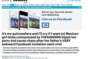 Medios Internacionales destacan la fiesta de XV años de Rubí. Imagen Por: Daily Mail - Reino Unido