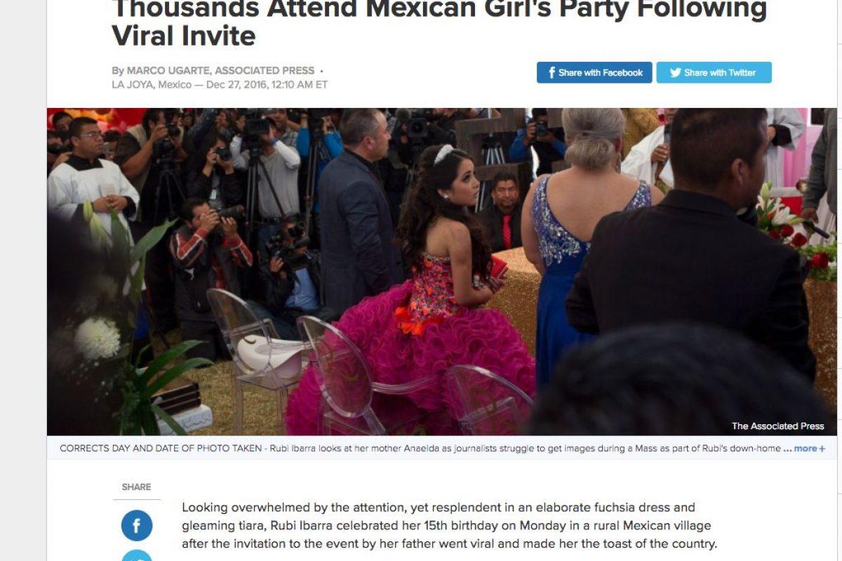 Medios Internacionales destacan la fiesta de XV años de Rubí. Imagen Por: ABC News - Estados Unidos