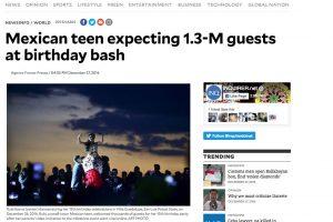 Medios Internacionales destacan la fiesta de XV años de Rubí. Imagen Por: Inquirer - Estados Unidos