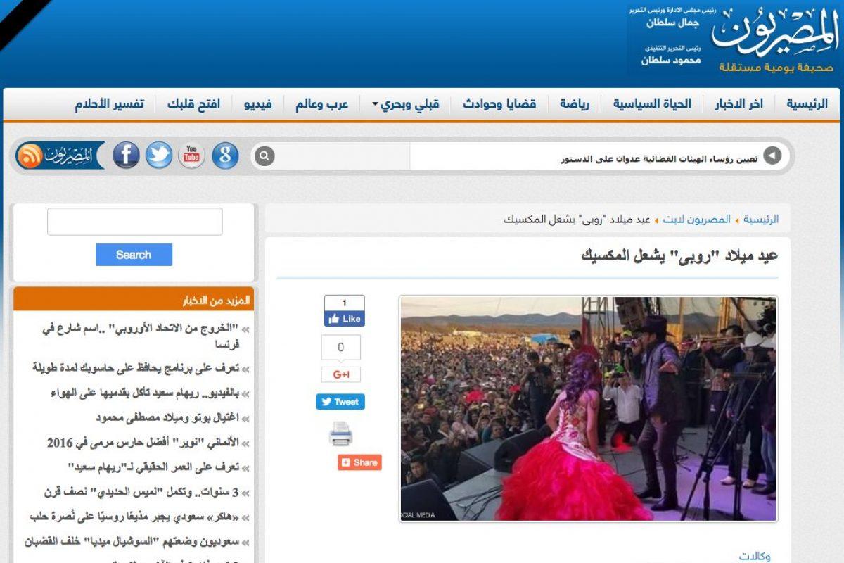 Medios Internacionales destacan la fiesta de XV años de Rubí. Imagen Por: Almesryoon - Egipto