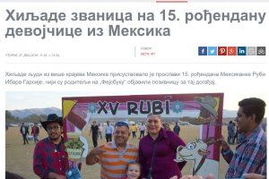 Medios Internacionales destacan la fiesta de XV años de Rubí. Imagen Por: PTC - Serbia