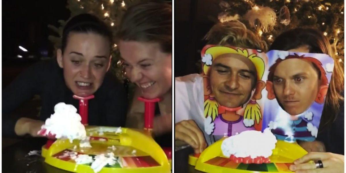 Katy Perry y Orlando Bloom jugaron Pastelazo
