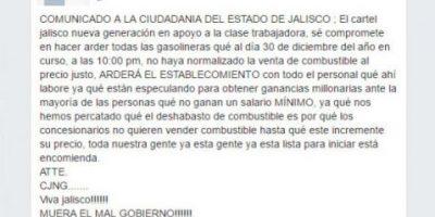 'Cártel de Jalisco' amenaza con hacer arder despachadoras ante gasolinazo