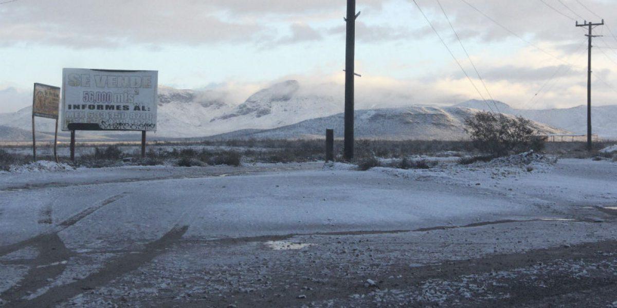 Cierran carretera de Cananea por nevada
