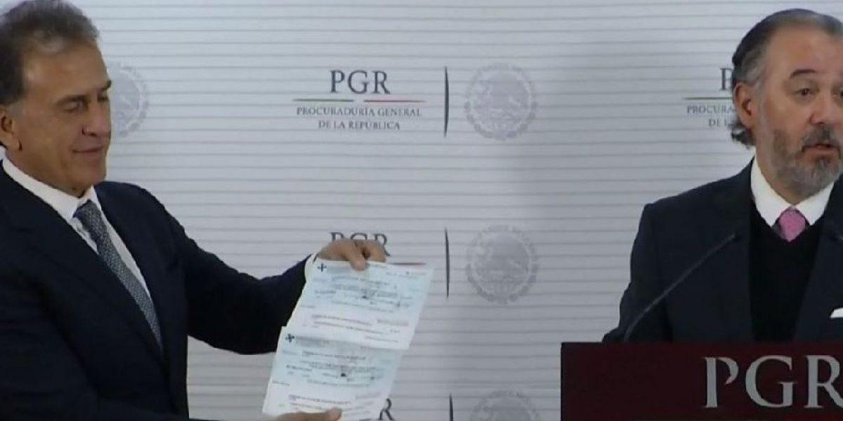 PGR entrega a Yunes 171 mdp que fueron desviados por Duarte