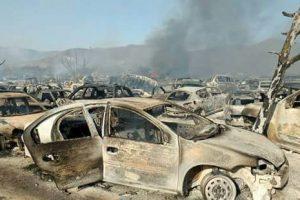 Incendio en corralón de la Fiscalía de Oaxaca deja 250 autos quemados