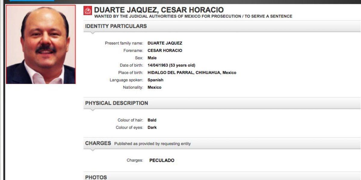 Interpol emite ficha roja en contra de César Duarte