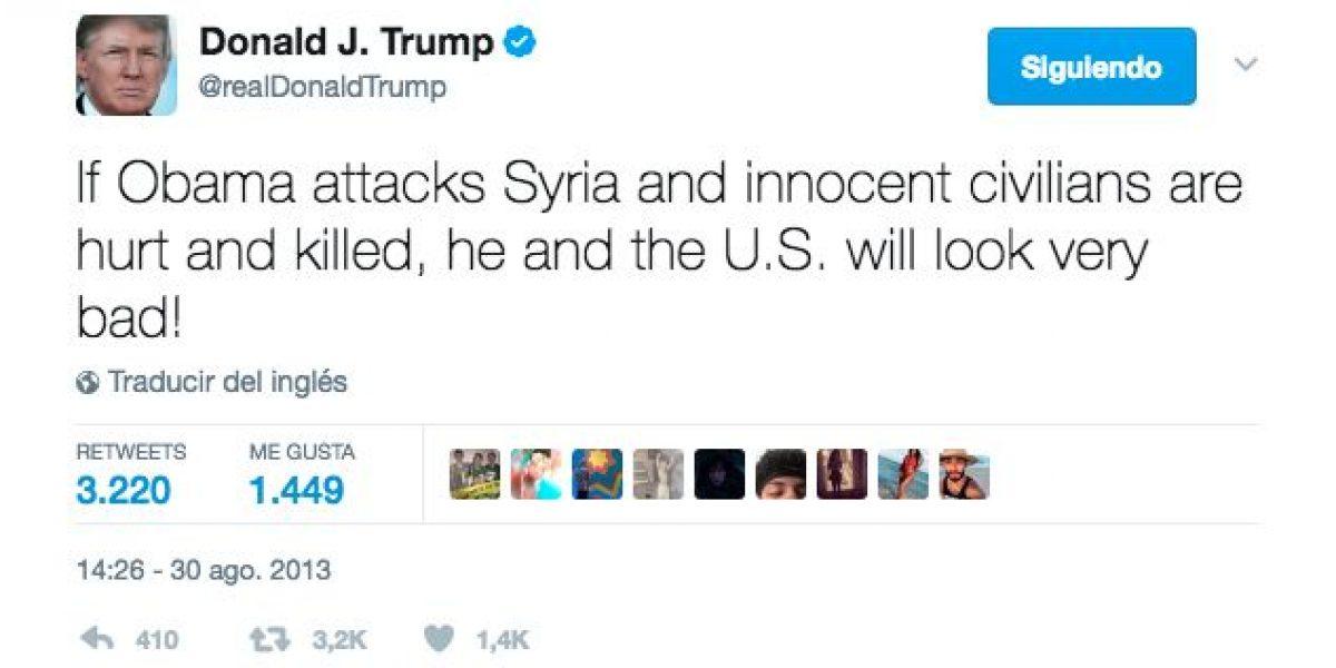 Las críticas de Trump cuando Obama planeaba bombardear Siria en 2013
