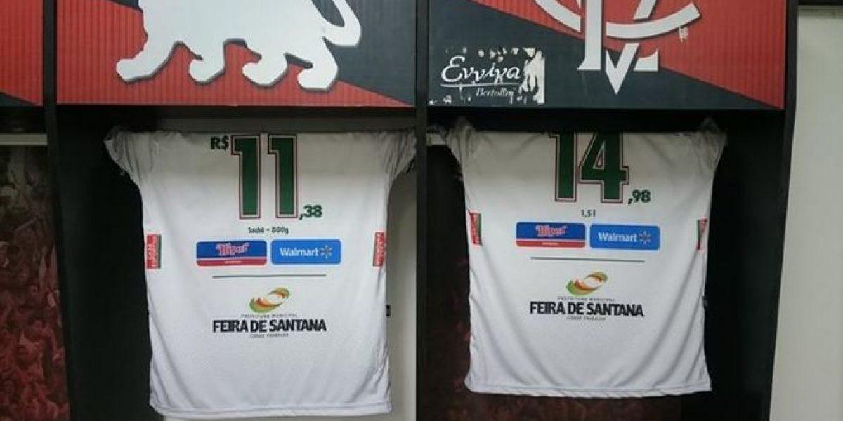 Equipo de futbol publica ofertas del super en jersey de jugadores