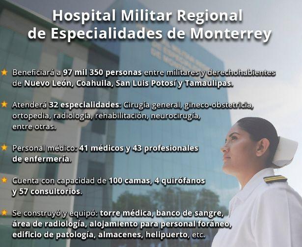 Peña Nieto inaugura hospital militar en Nuevo León