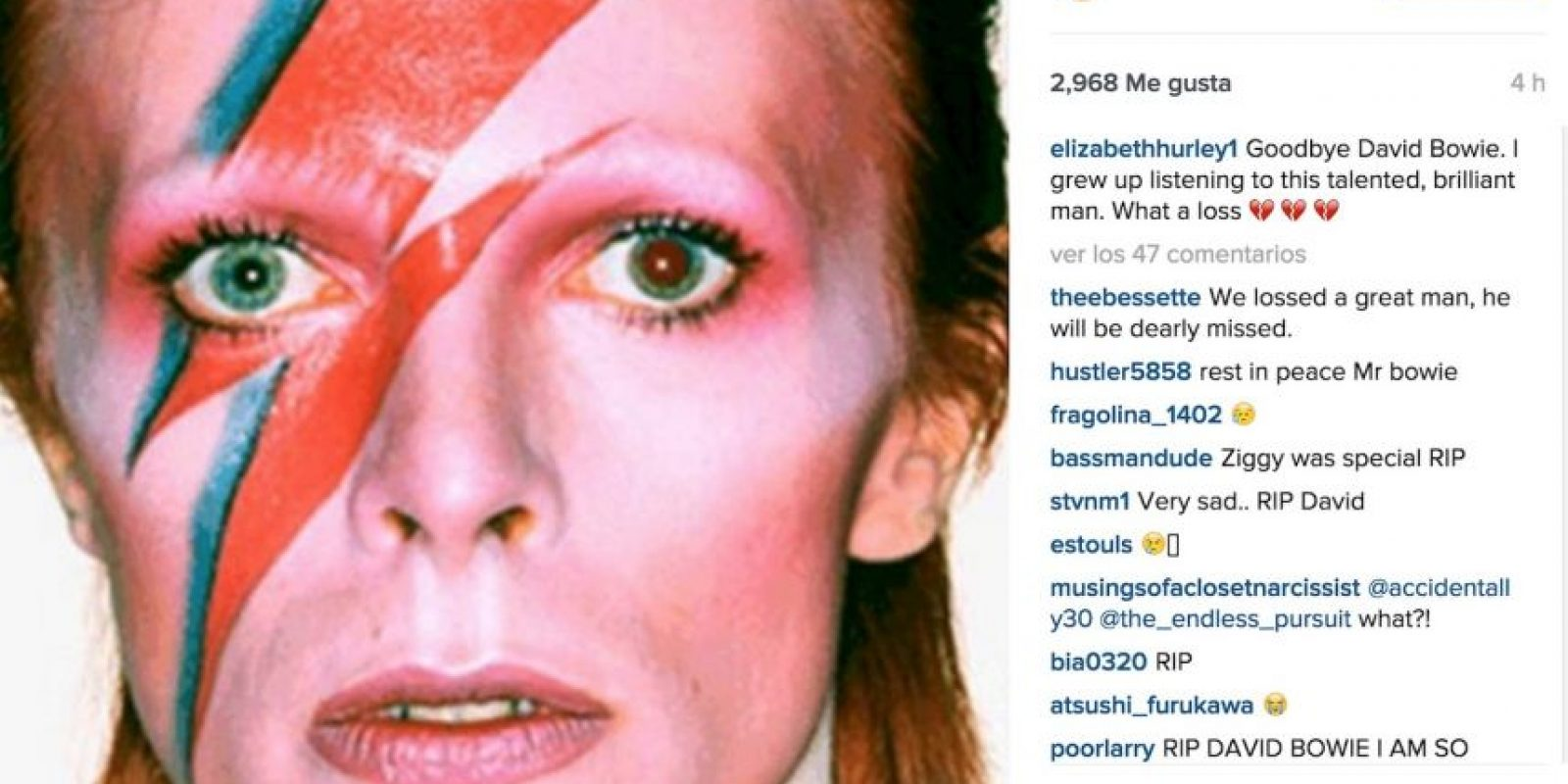 """Elizabeth Hurley: """"Adiós David. Crecí escuchando a este talentoso y brillante hombre. Qué pérdida"""". Foto:Instagram.com. Imagen Por:"""
