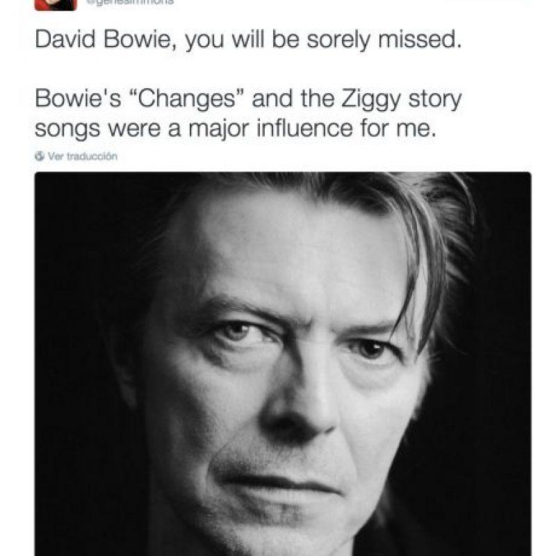 """Gene Simmons: """"David, serás extrañado profundamente. """"Changes y Ziggy fueron las canciones que más me influenciaron"""" Foto:Twitter.com. Imagen Por:"""