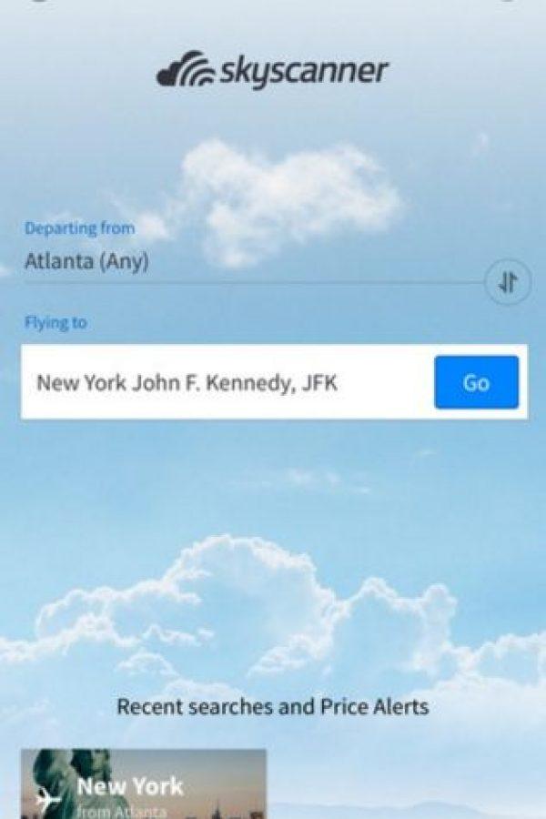 Es un comparador de millones de vuelos en todo el mundo entre cientos de compañías aéreas para encontrar las mejores ofertas. Busca vuelos económicos o de última hora y los pueden enlistar de acuerdo al precio, las escalas, las fechas o la categoría. Para reservar, les envía un enlace con la finalidad de que lo hagan ustedes mismos en la línea aérea o con el agente de viajes. Foto:Skyscanner. Imagen Por: