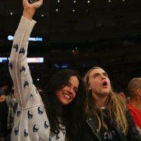 En febrero de 2014, Cara tuvo una relación con Michelle Rodríguez, se les vio muy cariñosas en un partido de baloncesto en el Madison Square Garden, en Nueva York Foto:Getty Images. Imagen Por: