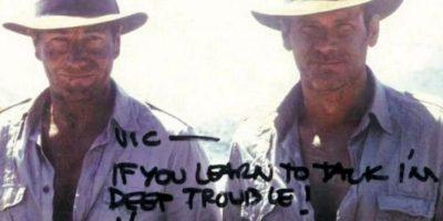 """Harrison Ford y Vic Armstrong en """"Indiana Jones"""" Foto:Vía reddit.com. Imagen Por:"""