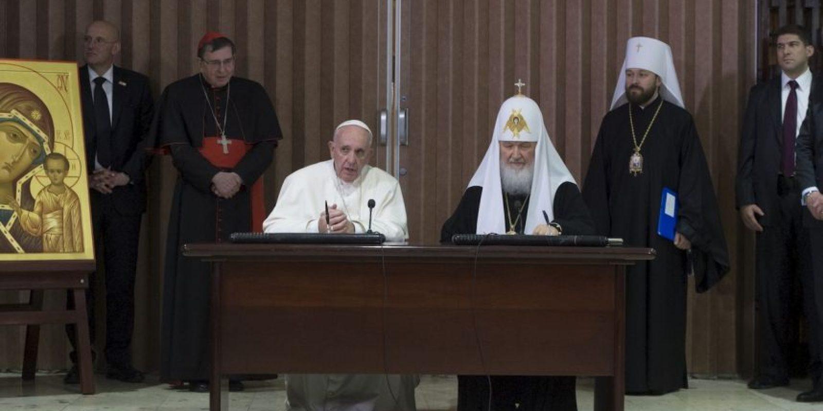 Con quien firmó una histórica declaración conjunta tendiendo puentes entre ambas iglesias. Foto:AP. Imagen Por: