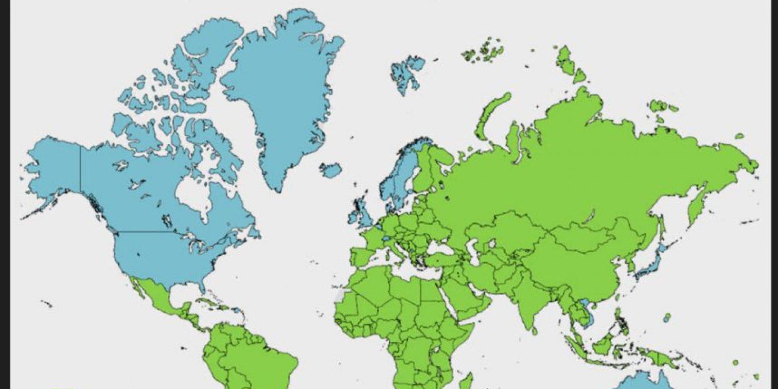 Este es un mapa del sistema operativo móvil para ingresar a Pornhub por región. Foto:Pornhub. Imagen Por:
