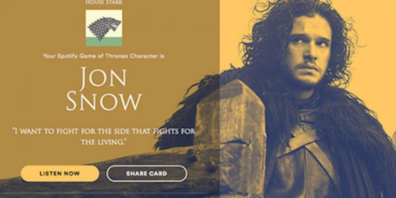 Personaje: Jon Snow. Foto:Spotify. Imagen Por: