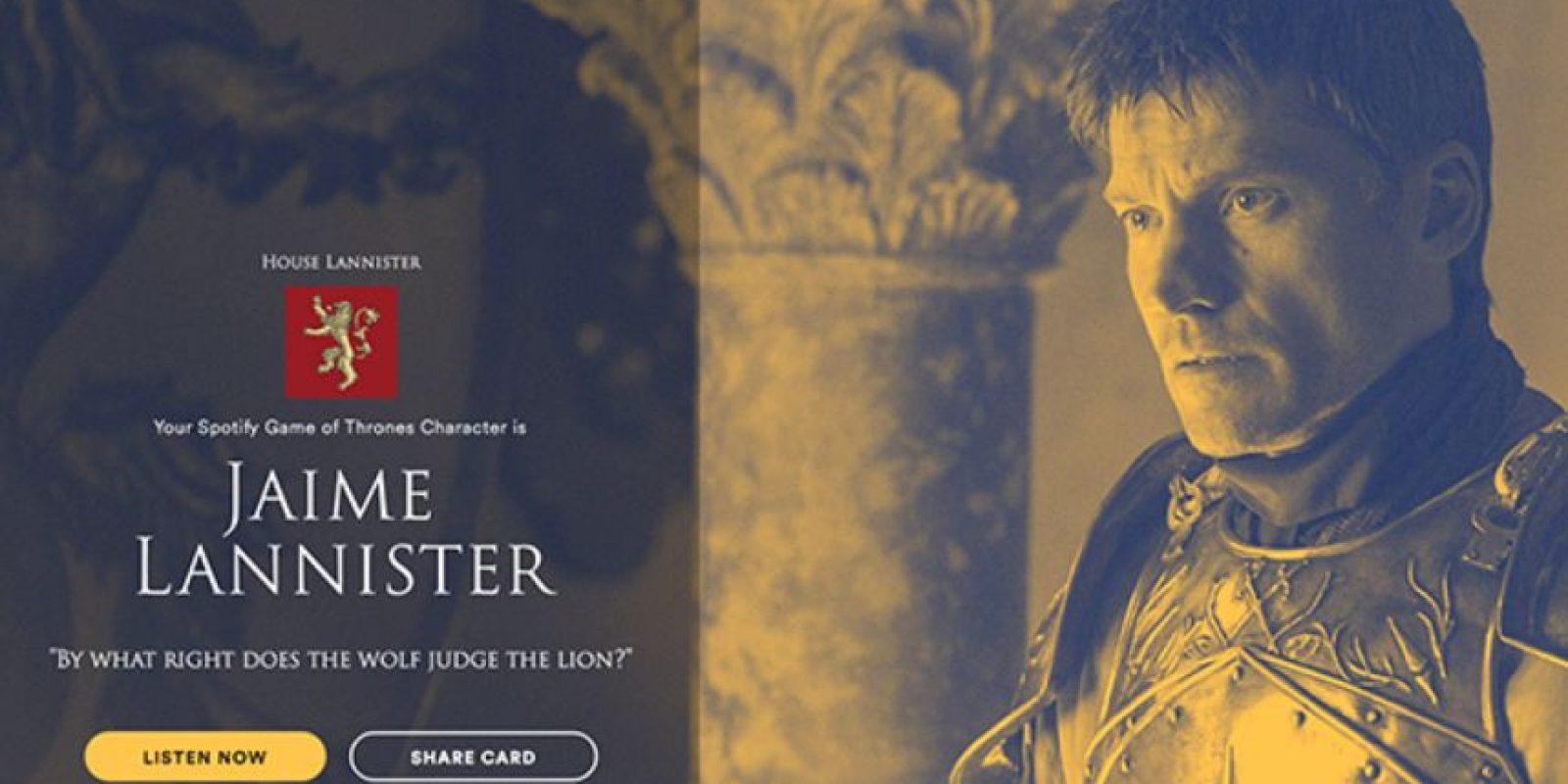 Personaje: Jaime Lannister. Foto:Spotify. Imagen Por: