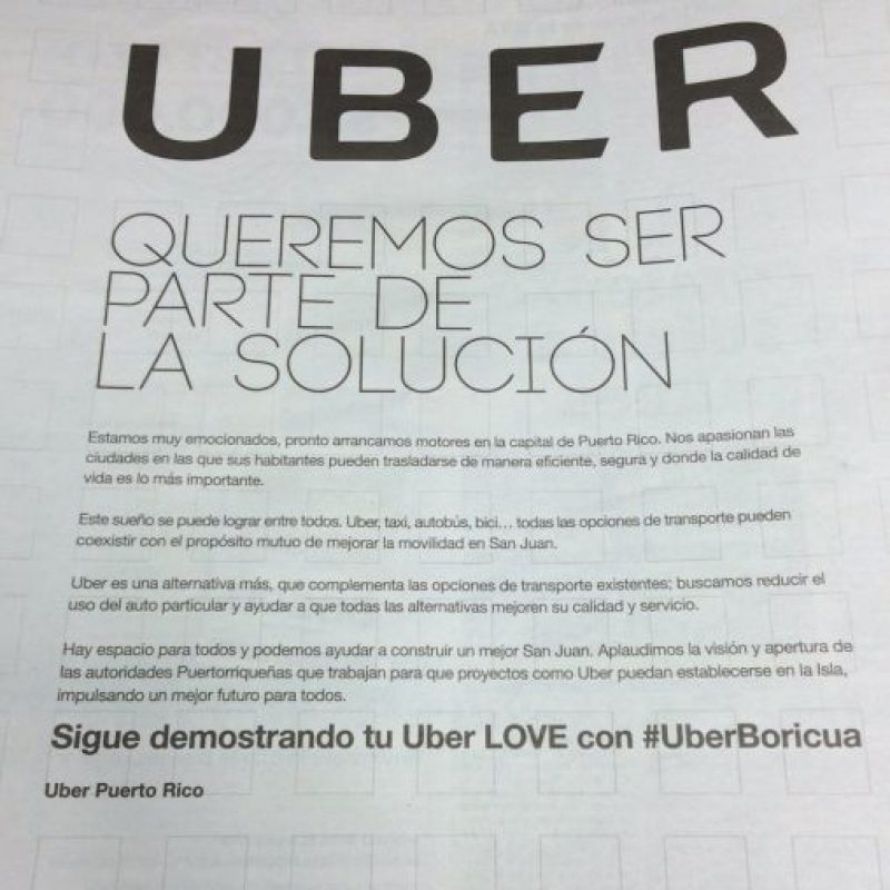 Mensaje de Uber publicado en el periódico Metro. Foto:Metro. Imagen Por: